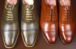 Men`s leather shoes. Closeup of men`s high quality oxford shoes Royalty Free Stock Photography