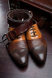 Men's leather shoes and  suitcase Stock Photography