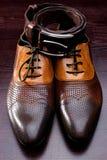 Men's leather shoes Stock Photos