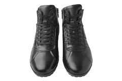 Men`s leather short boots, isolated on white background. Winter boots Royalty Free Stock Photos
