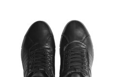 Men`s leather short boots, isolated on white background. Winter boots. Part of shoes Stock Images