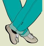 Men's legs. Men's vector feet in shoes Stock Images