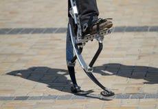 Men's legs for jumping stilts Royalty Free Stock Photos