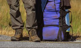 Men`s legs in trekking boots and shorts royalty free stock photography