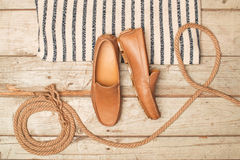 Men's Loafer Shoe on old wood Stock Photography