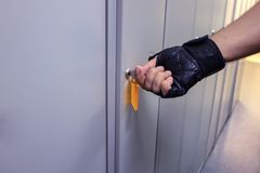 In the men`s locker room we open a locker Royalty Free Stock Photos
