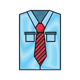 Men`s long-sleeved shirt. With tie vector illustration graphic design Stock Image