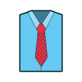 Men`s long-sleeved shirt with tie. Vector illustration graphic design Royalty Free Stock Image