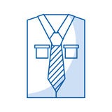 Men`s long-sleeved shirt with tie. Vector illustration graphic design Stock Image