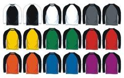 Men`s long sleeves raglan t-shirt templates, Front and back views. Vector illustration. colorful variants royalty free illustration
