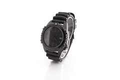 Men's luxury wrist watch. All black wrist watch. Rubber strap. White background. Suitable for e-commerce website or graphic design. Time royalty free stock images