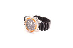 Men's luxury wrist watch. Wrist watch with blue face and rubber strap. White background. Suitable for e-commerce website or graphic design stock image