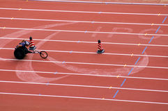 Men's marathon in Beijing Paralympic Games. The September 17, the Beijing Paralympic Games track and field competition in the final of a competition.Men's 400 Stock Photos