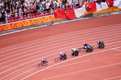 Men's marathon in Beijing Paralympic Games. The September 17, the Beijing Paralympic Games track and field competition in the final of a competition.Men's 400 Royalty Free Stock Images