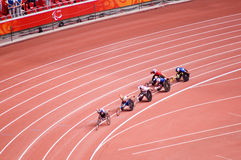 Men's marathon in Beijing Paralympic Games. The September 17, the Beijing Paralympic Games track and field competition in the final of a competition.Men's 400 Stock Images