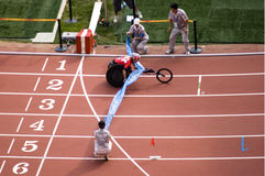 Men's marathon T52 class  in Paralympic Games. The September 17, the Beijing Paralympic Games track and field competition in the final of a competition, this Royalty Free Stock Image