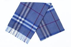Men's Men Wool Blue Plaid Scarf Royalty Free Stock Photography