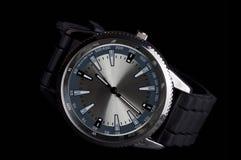 Men's metalic wristwatch, isolated on black Royalty Free Stock Image