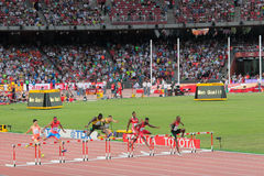 Men's 400 metres hurdles at IAAF World Championships in Beijing, China Royalty Free Stock Photos