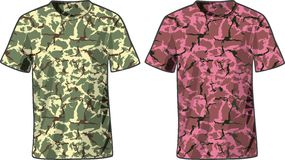 Men's Military Shirts front view template. Vector Royalty Free Stock Photography