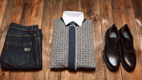 Men's office winter clothes in casual style stock photos