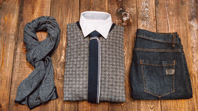 Men's office winter clothes in casual style stock image