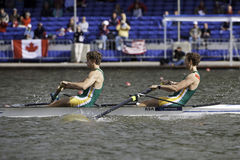Men's Pairs Semi Final. Bosbaan, Amsterdam, Netherlands - 23 July 2011: South African rowers Hunt and Brittain finish first in the semi-finals of the world Royalty Free Stock Image