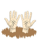 Men`s Palm of the hand in cartoon style, Hand sign for poster, i Stock Photos