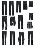 Men's pants. A set of silhouettes of different men's pants Stock Photography