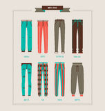 Men`s pants and jeans collection. Men`s pants and jeans vector illustration stock illustration
