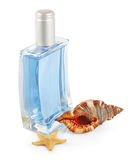 Men's perfumes & seashell Royalty Free Stock Photo