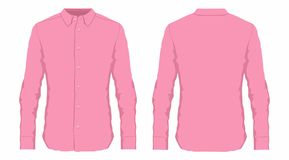 Men`s pink dress shirt. Front and back views on white background Royalty Free Stock Photos