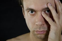 Men`s problems. Black background. Male sex problems Royalty Free Stock Photo
