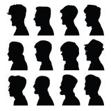 Men's profiles with different hairstyles Stock Image