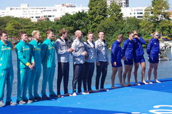 Men's quadruple sculls victory ceremony at Rio2016 Stock Photos