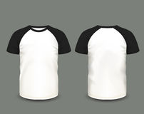 Men's raglan t-shirt in front and back views. Vector template. Fully editable handmade mesh Stock Photo