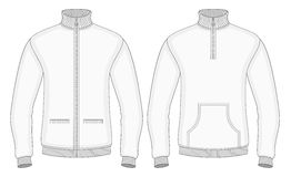 Men's roll-neck sweaters with zip and pockets. (front view). Vector illustration. No mesh. Redact color very easy Royalty Free Stock Photos