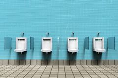 Men`s room with white porcelain urinals in line royalty free illustration