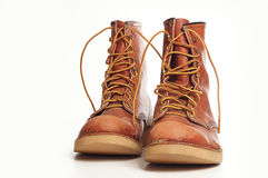 Men's rugged leather boots Royalty Free Stock Photography