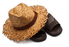 Mens Sandals and hat Royalty Free Stock Images