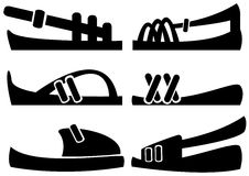 Men's sandals of icons set Stock Image