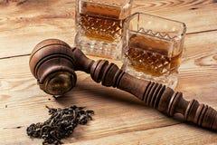 Men's set of pipe whiskey Royalty Free Stock Photos