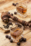 Men's set of pipe whiskey Royalty Free Stock Photography