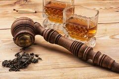 Men's set of pipe whiskey Stock Photo