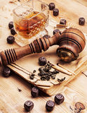 Men's set of pipe whiskey Stock Image