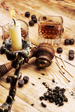 Men's set of pipe whiskey vintage style Royalty Free Stock Photography