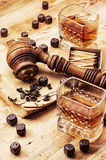 Men's set of pipe whiskey vintage style Royalty Free Stock Images