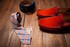 Men's set : shoe, belt, tie Royalty Free Stock Images