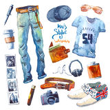 Men's Set of trendy look. Watercolor clothes Stock Photography
