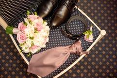 Men's set for the wedding. Wedding day, mens set wedding Royalty Free Stock Photo